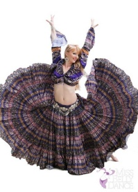 """Bellydance Evolution's """"Alice"""" posed in a MBD costume for us. She looks great!"""